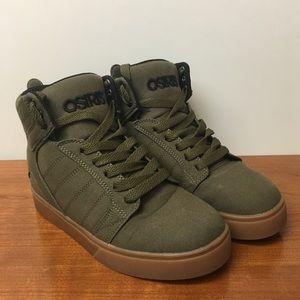 Osiris Army Green Canvas Hi Top gum sole Skate